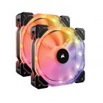 Corsair HD140 RGB LED High Performance 140mm PWM 600 – 1350 RPM Fan — Twin Pack with Controller