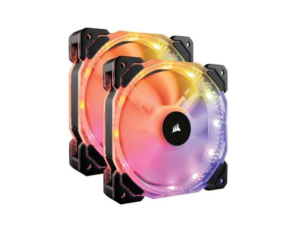 Corsair HD140 RGB LED High Performance 140mm PWM 600 - 1350 RPM Fan — Twin Pack with Controller (CO-9050069)