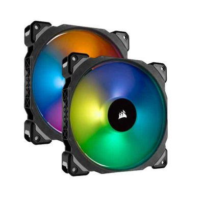 Corsair ML140 PRO RGB LED 140MM PWM Premium Magnetic Levitation Fan — Dual Fan Pack with Lighting Node PRO