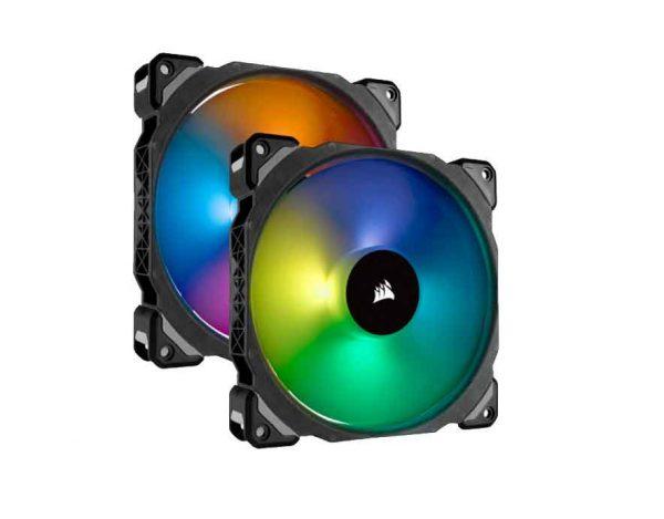 Corsair ML140 PRO RGB LED 140MM PWM Premium Magnetic Levitation Fan — Dual Fan Pack with Lighting Node PRO (CO-9050078)