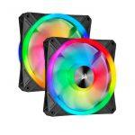 iCUE QL140 RGB 140mm PWM Dual Fan Kit with Lighting Node CORE