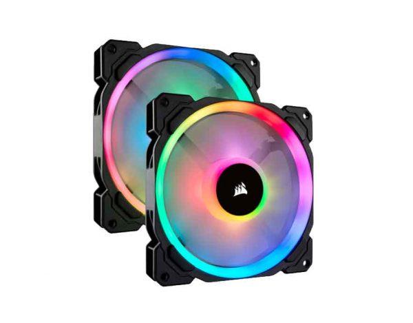 Corsair LL140 RGB 140mm Dual Light Loop RGB LED PWM 600 - 1300 RPM Cooling Fan — 2 Fan Pack with Lighting Node PRO (CO-9050074)